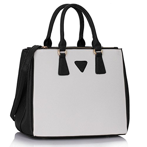 Handbags for women designer tote bags for girls Fashion Faux Leder Damen Celebrity Style New (White Patent Faux Leder)