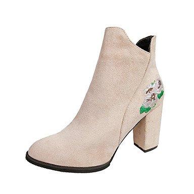 Rtry Femmes Chaussures Nubuck Cuir Printemps Automne Dans Le Confort De Bottes De Mode Bottes Chunky Talon Toe Booties / Zipper Cheville Bottes Pour Usure Occasionnelle Us8 / Eu39 / Uk6 / Cn39