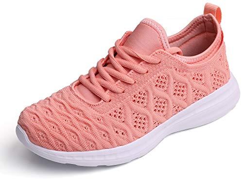 SEECEE Frauen Turnschuhe Atmungsaktiv Knit Laufschuhe Damen Sneaker Ultraleicht Sportschuhe Freizeitschuhe Fitness Schuhe mit Schnürsenkel Rosa 42 EU
