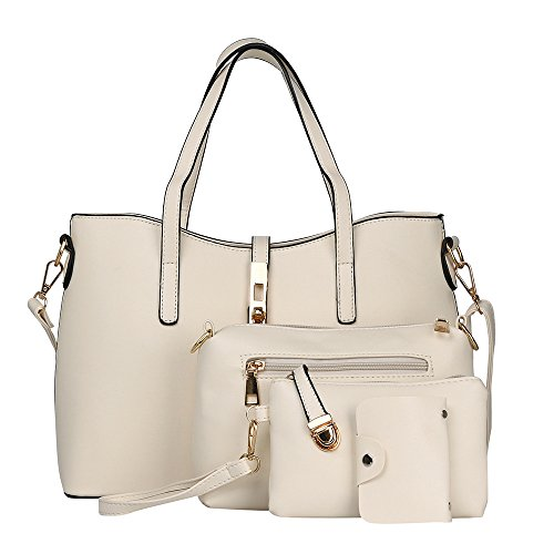 Handtasche Damen 4PC Mode Umhängetasche Schultertasche Kuriertasche Crad Bag Weiß