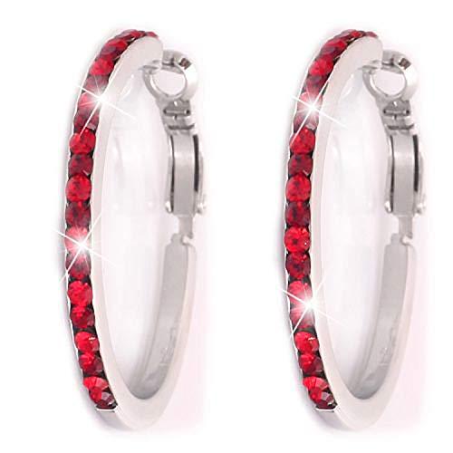 Tillberg Ohrringe rot mit Swarovski-Steinen Damen Creolen Ohrring Set 2Stk red Creolen Swarovski Elemente der Extraklasse! 4844