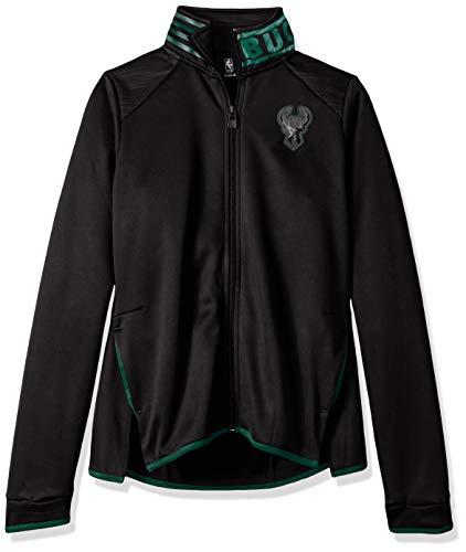 NBA by Outerstuff NBA Youth Girls Milwaukee Bucks Aviator Full Zip Jacket, Black, Youth X-Large(16) Black Aviator Jacket