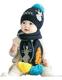 IBLUELOVER Conjunto de Gorro y Bufanda de Invierno para bebés y niños con  pompón 17b56e6a4dc