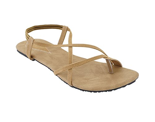 Soft Arts Women Faux Leather Fancy Flat Sandal (10, Brown) ( While Ordering Please refer Image Size Chart in Images )