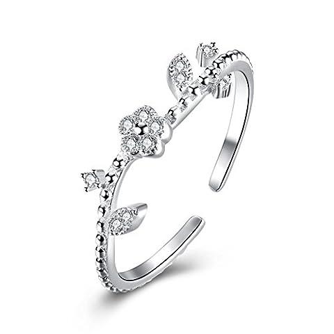 Hmilydyk Fleur Eternity Superbe Ouverture Bague en argent sterling 925CZ Diamant ajustable Band