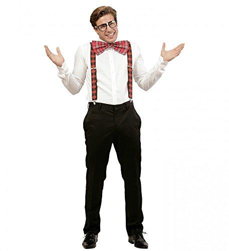 Nerd Set Brille Fliege Hosenträger Streber Sonderling Außenseiter Beamter