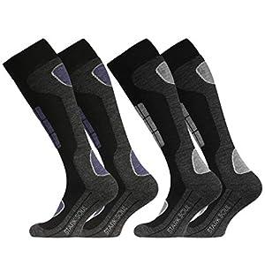 STARK SOUL Ski Funktionssocken, Wintersport Socken mit Spezial Polsterung, 2 Paar
