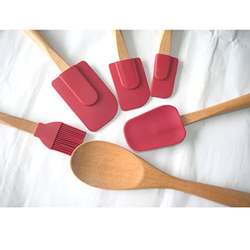 tenta-kitchen-heady-duty-silicone-spatulas-tool-with-long-wooden-handle-set-of-6-red-head-for-baking