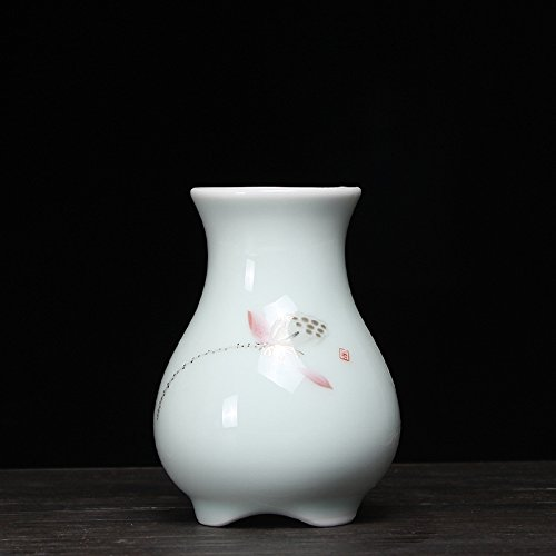 Deko Skulpturen Statue Figur Keramische Vase Dekoration Seladon Handgemalte Minivase Longquan Celadon Hydroponische Vase Blaue Und Weiße Porzellanblume Blumeneinsatz, Handgemalter Roter Lotos