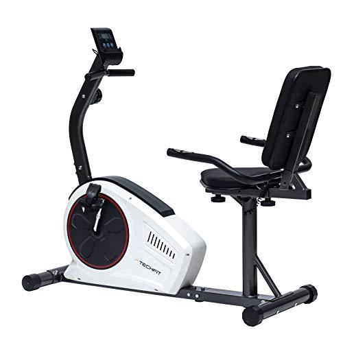 TechFit R450 Bicicleta Estática Reclinada, Ideal para el Entrenamiento de Recuperación, Sillín Ajustable, Sensores de Pulso y Monitor LCD ...
