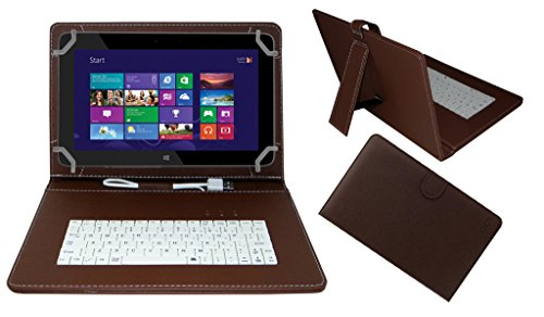 Acm Premium Usb Keyboard Tablet Case Holder Cover For Hp Omni 10 With Free Micro Usb Otg – Brown