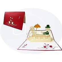 LIN-POP UP Karten Hochzeitskarten, Hochzeitseinladungen, 3D Karten Valentinskarten Grußkarten Glückwunschkarten Hochzeit, Brautpaar im Boot