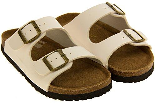 Coolers Simili Cuir Boucle Sangles Sandales Mules Femmes Blanc 2 Sangle