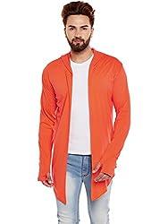 Chill Winston Orange Color Cotton Blend Hooded Cardigan For Men