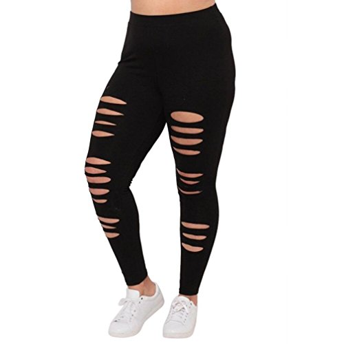Clearance Women Leggings Sunday77 Women Sexy High Waist Plus Size Hole Yoga Pants Fashion Athletic Sport Gym Leggings Elastic Waist Workout Stretch Running Skinny Pants for Ladies