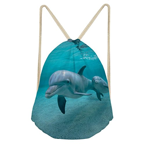 ck String Bag Sports Cinch Sack Beuteltasche Sackpack Gymsack Herren Damen Jungen Mädchen L Delfin ()