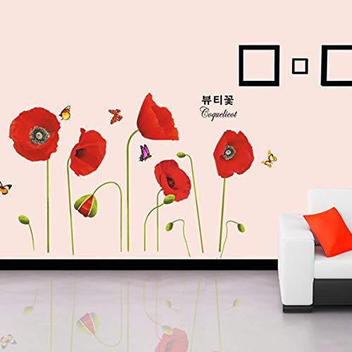 ZWXDMY Wandtattoo,Schönen Roten Mohn Blumen Schmetterlinge Pflanzen Zierpflanzen, Abnehmbare wasserdichte, Wohnzimmer Restaurant Baby Kinder Schlafzimmer, Aufkleber Kunst Dekor, Wandbild Poster