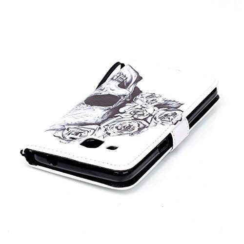 Galaxy Grand Prime Hülle, Tasche Ledertasche Flip Beutel Haut Slim Fit Bumper Schutz Magnetisch Schließung Stehening Soft SchutzHülle Weich Silikon Cover Case Schale für Samsung Galaxy Grand Prime G53 Schädel