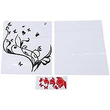 SODIAL(R) Pegatina Adhesivo vinilo decorativo pared Letras Flor Mariposa Rojo 60*55CM