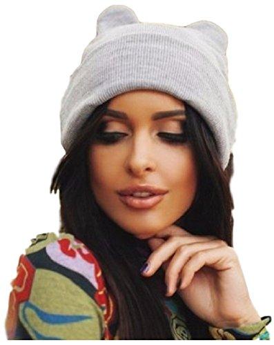 Ducomi® mousy - cappellino invernale morbido ed elastico con orecchie da topo - beanie per ragazza e ragazzo lavorato a maglia (grey)