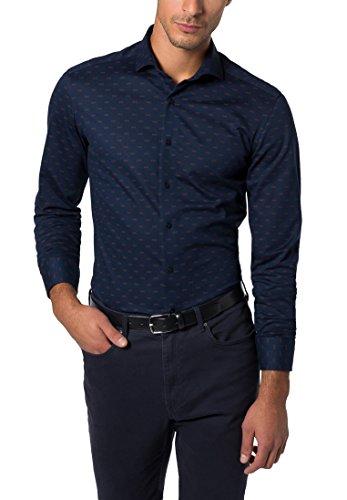 ETERNA Langarm Hemd SLIM FIT Piquée bedruckt Blau