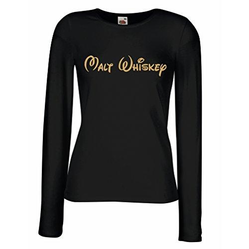 lepni.me Manches Longues Femme T-Shirt Malt Whiskey - Citations Drôles de Boisson, Énonciations Fraîches DAlcool Noir Or