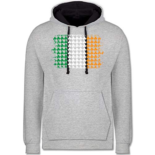 rische Kleeblatt Flagge St. Patricks Day - L - Grau meliert/Navy Blau - JH003 - Kontrast Hoodie ()