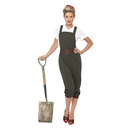 Womens Ladies WW2 Land Girl Fancy Dress Costume Wartime 1940's Top, Dungarees and Head Scarf Hen Do's (UK Dress 8-10 ()