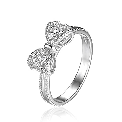 JewelryPalace Bow Cubic Zirconia Anniversary Wedding Ring 925 Sterling Silver Size P