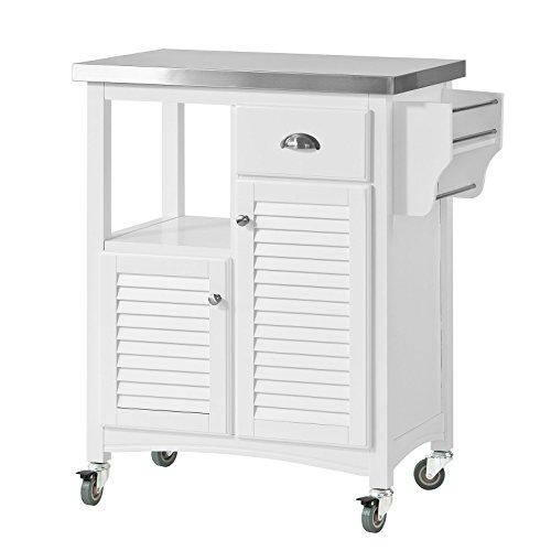SoBuy® Servierwagen, Küchenwagen,Küchenregal, Rollwagen mit Edelstahlplatte, FKW37-W