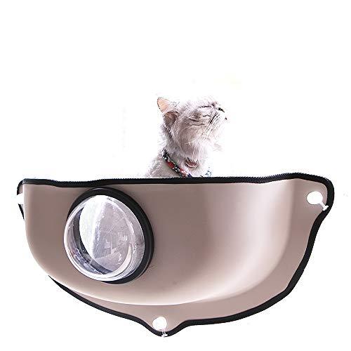 Decdeal Katzen Fensterplatz Liegeplatte Fensterbrett mit Transparenter Luke für Katzen bis zu 10 kg