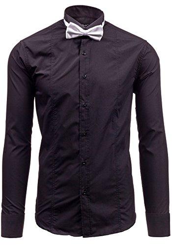 BOLF Langarm Herrenhemd Hemd Figurbetont Freizeit Slim Fit 4702 Schwarz