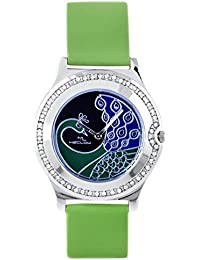 Latest Designer Fashionable Green Leather Belt Watch Round Blue Diamond Beaded Dial Watch Casual / Formal / Party...