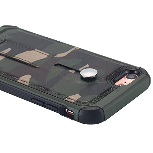 Custodia iPhone 8,iPhone 8 case,Custodia iPhone 7,iPhone 7 case, Snewill High Impact Shockproof Dropproof Defender Armor Plastic and Leather TPU Hybrid Rugged Defender Armor Camouflage Case For iPhone Camouflage Green