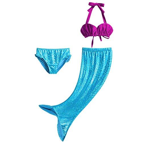 Imagen de pettigirl 3pcs bañador de sirena disfraz de princesa bikini pantalones cortos falda como cola de sirena para niñas