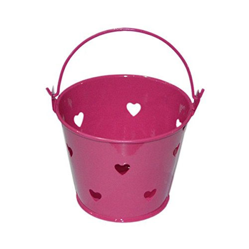 Eimer, Metall, Hot Pink, mit Herz-Design, 10 Stück (XMEFABU27) -