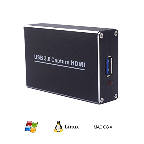 owikar HDMI zu USB 3.0 Video Capture Dongle 1080P HD drive-free Capture Card Box Video Audio HDMI zu USB Adapter Konverter für Windows Win7/Windows Server 2008 R2/Linux/OS X (Sammlung Voll Kurze)