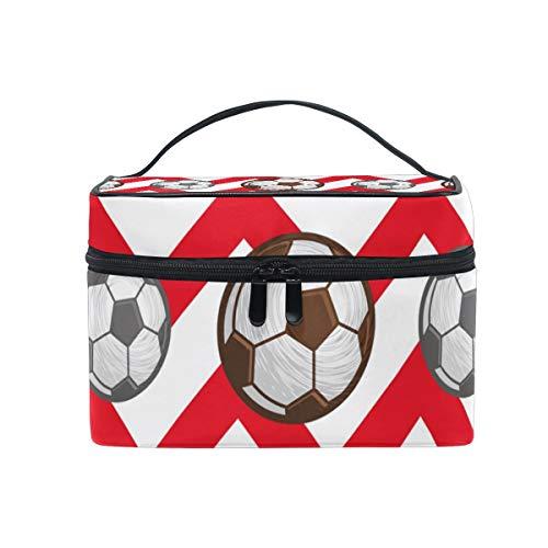 Kosmetiktasche mit Reißverschluss Kosmetiktasche Clutch Fußball Und Fußball Single Layer Tragbare Reise Aufbewahrungstasche Tasche Platz für Frauen dame (Bulk Mini Fußbälle)