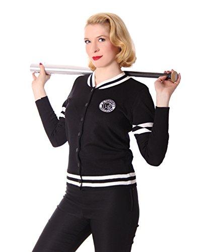 SugarShock Tessy Damen Baseball Cardigan Rockabilly Weste, Farbe:Schwarz, Größe:L/XL (42-44)