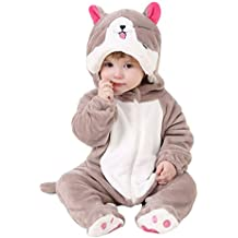 MissFox Bebé Kigurumi Pijamas Pelele Mono para Niño Niña Infantil, Invierno Ropa de Noche con Capucha