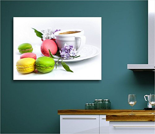 Macaron caffè - Quadro moderno intelaiato 70x50 cm tela stampa