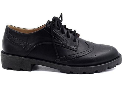 03f2c7c40178e4 Per Partie Confortable Plat 36 Mode Chaussures Eu Noir Oxford Maxmuxun  Femme Ronde 41 f0SqR8w