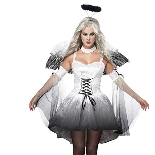 BaojunHT Schwarz Dark Angel Halloween Kostüm Minikleid mit Feenflügeln und Halo Party Kostüm Set für Damen, weiß, XXL