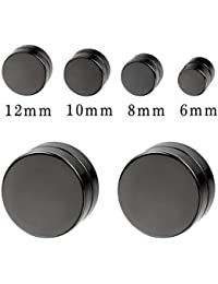 acf2bc72e Aroncent 8pcs Black Circle Magnetic Clip On Non Piercing Stud Earrings for  Men Women 6-
