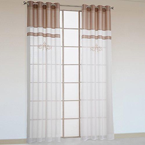 Preisvergleich Produktbild 1er-Pack Stickerei halbtransparente Gardine luftige Schal Vorhang mit Ösen Sand BxH 140x225cm