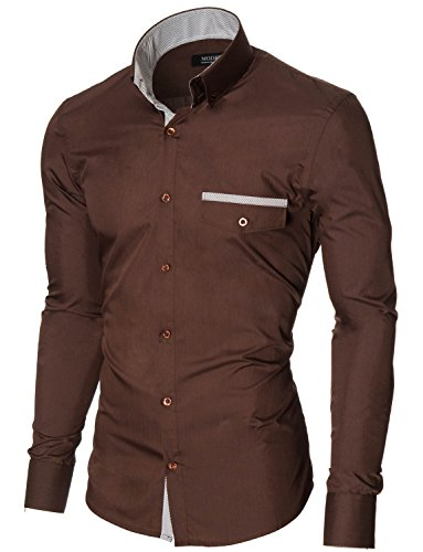 MODERNO - Casual Slim Fit Manches Longues Chemise Homme (MPSF301) MOD1413LS-Marron