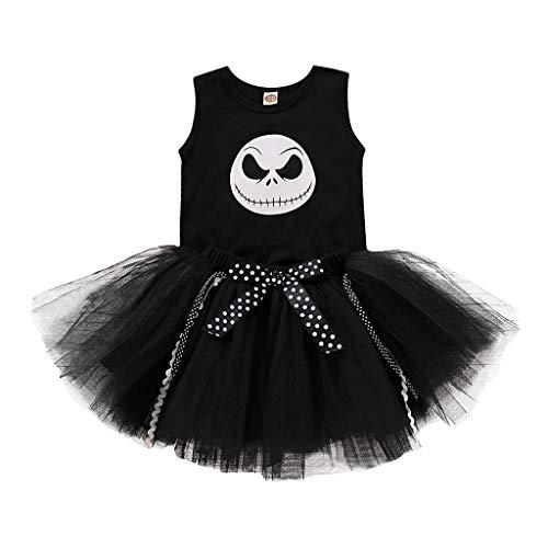 Tensay Baby Mädchen Halloween Nightmare Print ärmellose Tops + Tutu Rock Kostüm Outfits Kleidung Sets