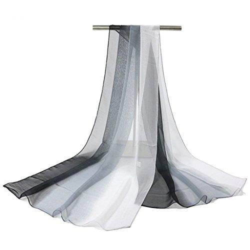 GWELL Damenschal Farbverlauf Georgette Sommer Schals Tücher Damen Strandtuch Halstuch weiß schwarz (Weiße Georgette)