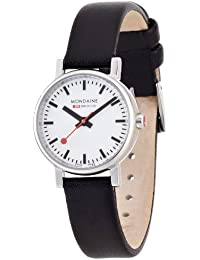 Mondaine Women's Quartz Watch with White Dial Analogue Display and Black Leather Strap