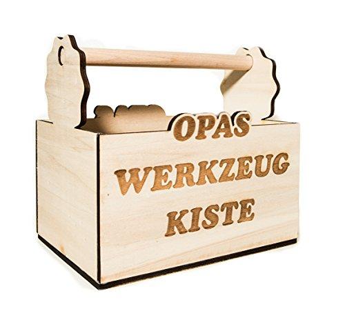 Flaschenträger Bierträger Männerhandtasche Sechser Träger aus Holz mit Schriftzug Opa\'s Werkzeugkiste, originelles Geschenk für Opa oder sonstige Anlässe